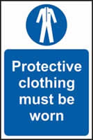 Protective clothing must be worn self-adhesive vinyl 400 x 600mm