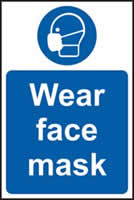 Wear face mask sign 1mm rigid plastic 400 x 600mm