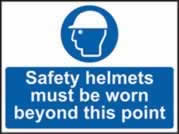 Safety helmets must be worn past this point self-adhesive vinyl 600 x 450mm