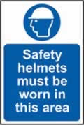 Safety helmets must be worn in this area self-adhesive vinyl 200 x 300mm