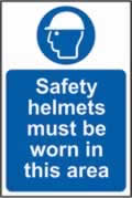 Safety helmets must be worn in this area sign 1mm rigid plastic 200 x 300mm