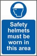 Safety helmets must be worn in this area self-adhesive vinyl 400 x 600mm