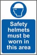 Safety helmets must be worn in this area sign 1mm rigid plastic 400 x 600mm
