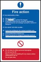 Fire action procedure sign 1mm rigid plastic 400 x 600mm