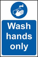 Wash hands only sign 1mm rigid plastic 200 x 300mm