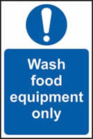 Wash food equipment only self-adhesive vinyl 200 x 300mm