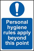 Personal hygiene rules apply beyond this point sign 1mm rigid plastic 200 x 300mm