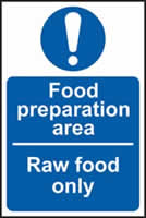 Food preparation area Raw food only self-adhesive vinyl 100 x 150mm