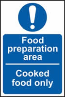 Foor preparation area Cooked food only self-adhesive vinyl 150 x 100mm