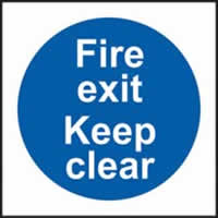 Fire exit Keep clear self-adhesive vinyl 150 x 150mm