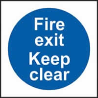 Fire exit keep clear sign 1mm rigid plastic 200 x 200mm