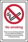 No smoking. These are no smoking premises - s/a vinyl - 200 x 300mm label made from self-adhesive vinyl