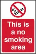 This is a no smoking area - s/a vinyl - 400 x 600mm label made from self-adhesive vinyl