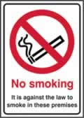 No smoking It is against the law to smoke in these premises - s/a vinyl - 148 x 210mm label made from self-adhesive vinyl