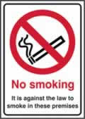 No smoking It is against the law to smoke in these premises - rigid 1mm rigid plastic - 148 x 210mm made from 1mm rigid PVC