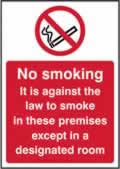 No smoking It is against the law to smoke - s/a vinyl - 148 x 210mm label made from self-adhesive vinyl