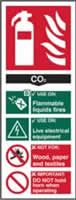 Fire extinguisher CO2 - s/a vinyl - 82 x 202mm label made from self-adhesive vinyl