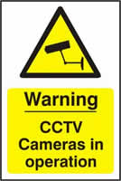 Warning CCTV Cameras in operation - PVC 200 x 300mm sign made from 1mm rigid PVC