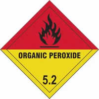 Organic Peroxide 5.2 - s/a vinyl - Diamond 100 x 100mm label made from self-adhesive vinyl