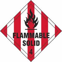 Flammable Solid 4 - s/a vinyl - Diamond 100 x 100mm label made from self-adhesive vinyl
