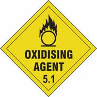 Oxidising Agent 5.1 - s/a vinyl - Diamond 100 x 100mm label made from self-adhesive vinyl