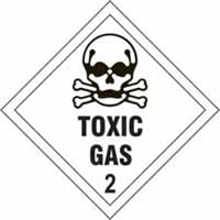 Toxic Gas 2 - s/a vinyl - Diamond 200 x 200mm label made from self-adhesive vinyl