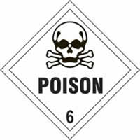 Poison 6 - s/a vinyl - Diamond 100 x 100mm label made from self-adhesive vinyl
