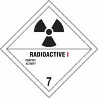 Radioactive I 7 - s/a vinyl - Diamond 100 x 100mm label made from self-adhesive vinyl