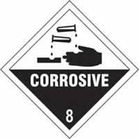 Corrosive 8 - s/a vinyl - Diamond 100 x 100mm label made from self-adhesive vinyl