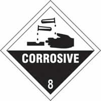 Corrosive 8 - s/a vinyl - Diamond 200 x 200mm label made from self-adhesive vinyl