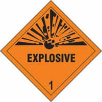 Explosive 1 - s/a vinyl - Diamond 100 x 100mm label made from self-adhesive vinyl