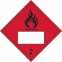 Flammable 2 Symbol - s/a vinyl - Placard 250 x 250mm label made from self-adhesive vinyl