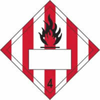 Flammable 4 Symbol Striped - s/a vinyl - Placard 250 x 250mm label made from self-adhesive vinyl