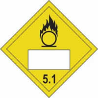 Oxidising 5.1 Symbol - s/a vinyl - Placard 250 x 250mm label made from self-adhesive vinyl