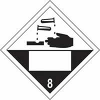 Corrosive 8 Symbol - s/a vinyl - Placard 250 x 250mm label made from self-adhesive vinyl
