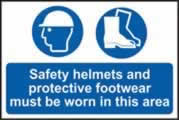 Safety helmets and protective footwear. Sign 1mm rigid plastic 600 x 400mm