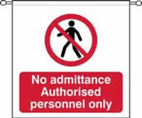 No admittance Authorised personnel only sign barrier tape 760 x 760mm