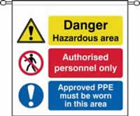 danger Hazardous area Authorised personnel only barrier tape 760 x 760mm