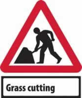 Road works & Grass Cutting Supplied plate - Classic Roll up traffic sign 600 mm Triangle Triflex roll up sign