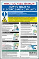 Safety Poster - Electric Shock - rigid 1mm rigid plastic sign - 400 x 600mm made from 1mm rigid PVC