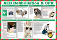 Safety Poster - AED defibrilation & CPR - LAM 590 x 420mm made from Chrome Plated