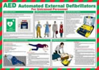Safety Poster - AED Automated External Defibrillators - LAM 590 x 420mm