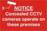 Notice Concealed CCTV cameras operate on these premises - PVC 300 x 200mm sign made from 1mm rigid PVC