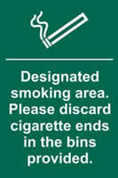 Designated smoking area. Please discard cigarette ends - PVC 200 x 300mm sign made from 1mm rigid PVC