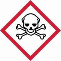 GHS scull & cross bones symbol - s/a vinyl - 50 x 50 mm label made from self-adhesive vinyl