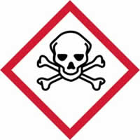 GHS scull & cross bones symbol - s/a vinyl - 100 x 100mm label made from self-adhesive vinyl