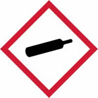 GHS compressed gas symbol - s/a vinyl - 100 x 100 mm label made from self-adhesive vinyl