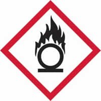 GHS oxidising symbol - s/a vinyl - 100 x 100 mm label made from self-adhesive vinyl