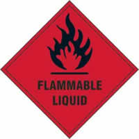Flammable liquid - s/a vinyl - 100 x 100mm label made from self-adhesive vinyl