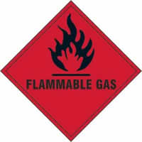 Flammable gas - s/a vinyl - 100 x 100mm label made from self-adhesive vinyl